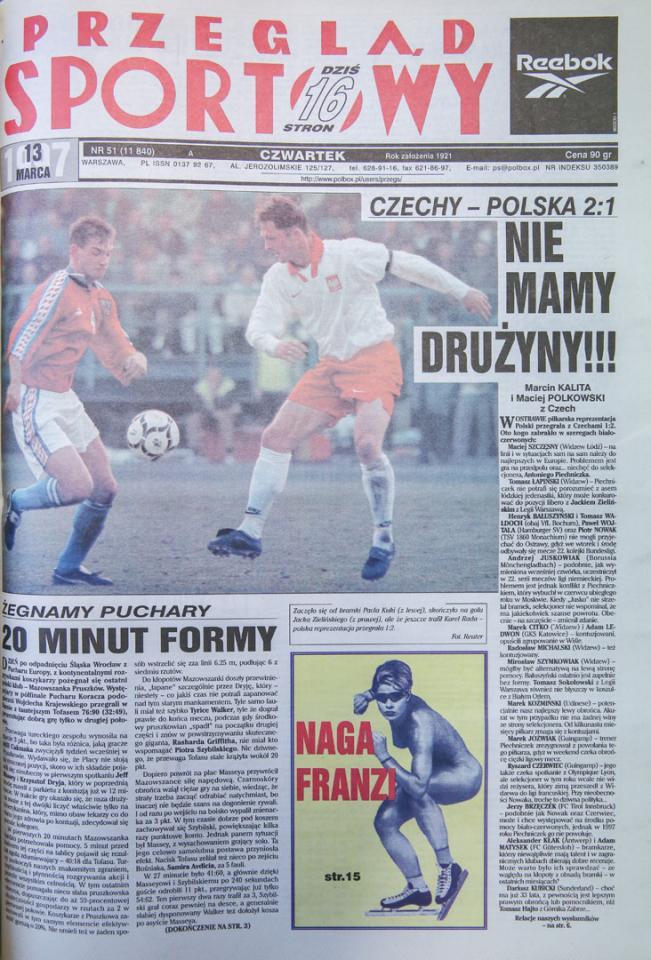 Okładka przeglądu sportowego po meczu czechy - Polska (12.03.1997)