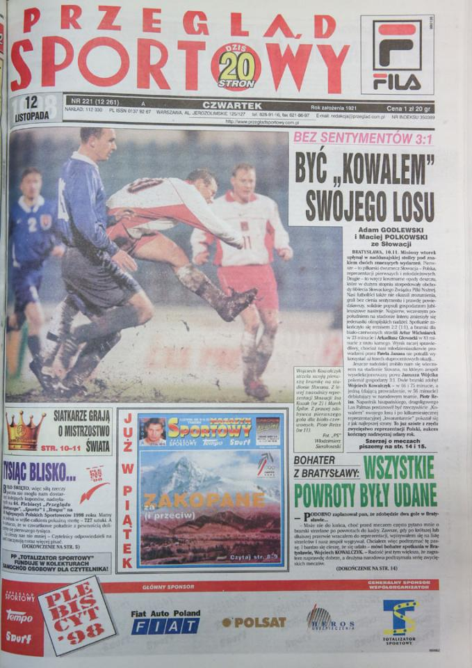 Okładka przeglądu sportowego po meczu Słowacja - Polska (10.11.1998)