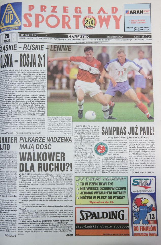 Okładka przeglądu sportowego po meczu polska - rosja (27.05.1998)