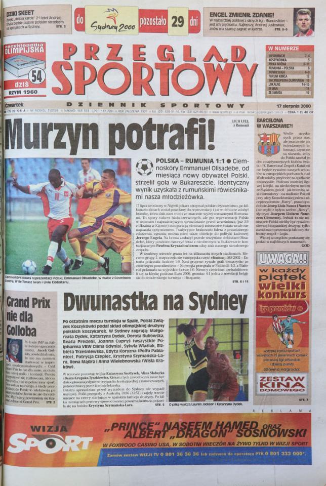 okładka przeglądu sportowego po meczu rumunia - polska (16.08.2000)