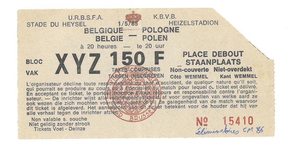 Oryginalny bilet z meczu Belgia - Polska (01.05.1985)