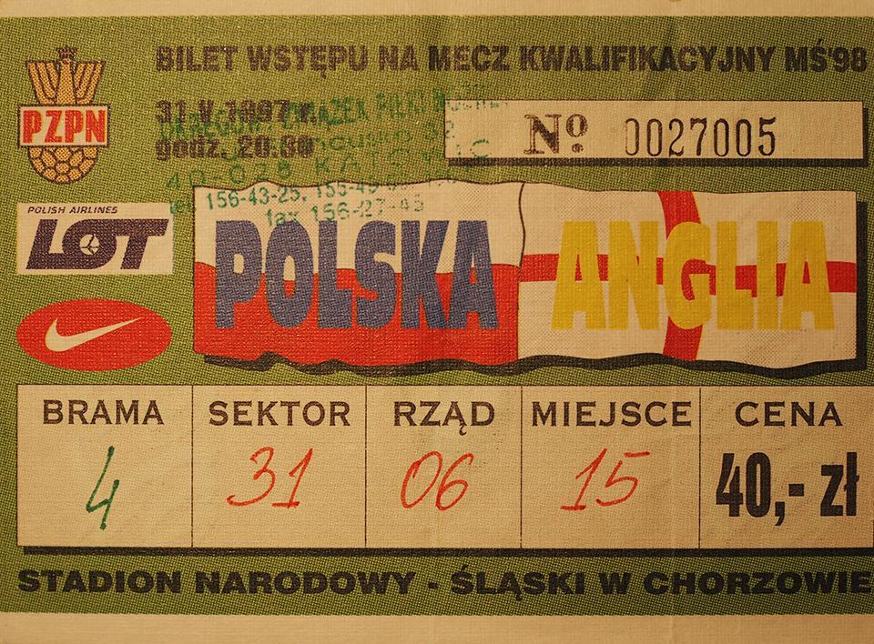 Oryginalny bilet z meczu Polska - Anglia (31.05.1997)