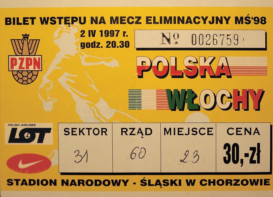 Oryginalny bilet z meczu Polska - Włochy (02.04.1997)