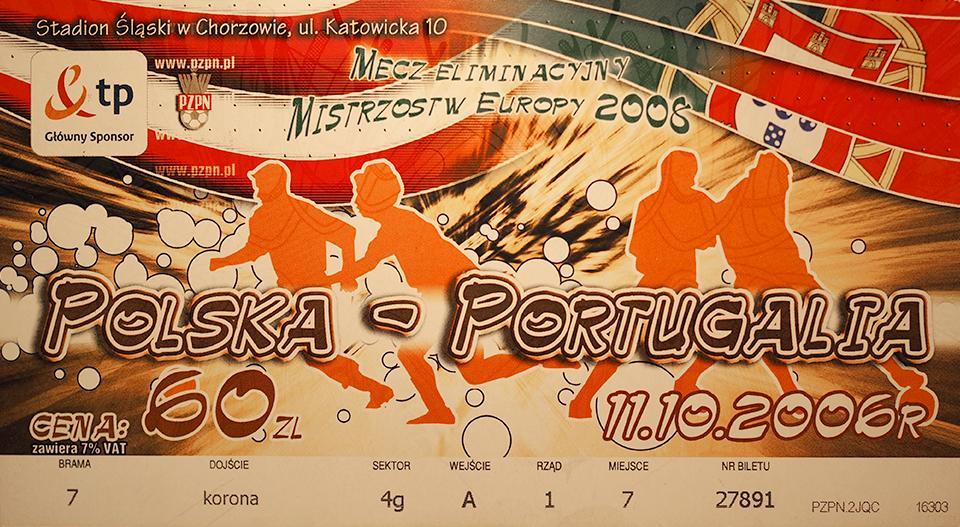 Oryginalny bilet z meczu Polska - Portugalia (11.10.2006)