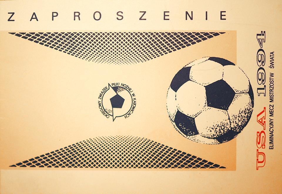Oryginalne zaproszenie z meczu Polska - Anglia (29.05.1993)