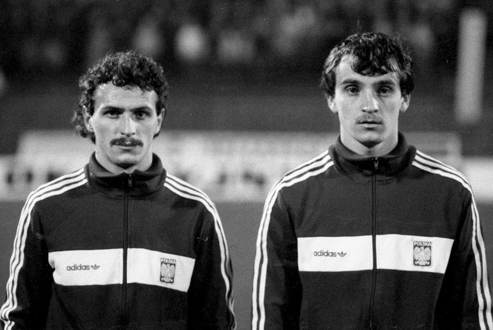Jan Furtok i Marek Koniarek przed meczem Polska - Irlandia 1:0 (12.11.1986).