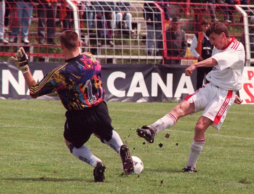 Marek Koniarek podczas meczu Widzew Łódź - Stal Mielec 4:1 (26.05.1996).