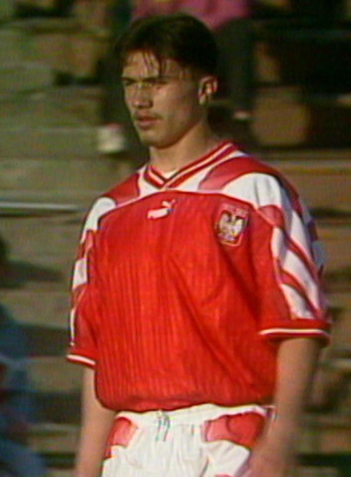 Marek Saganowski podczas meczu Polska - Białoruś 1:1 (01.05.1996).