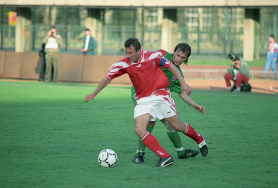 Wojciech Kowalczyk podczas meczu Polska - Białoruś 1:1 (01.05.1996).