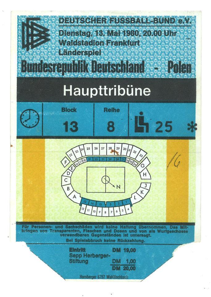 bilet z meczu RFN - Polska (13.05.1980)