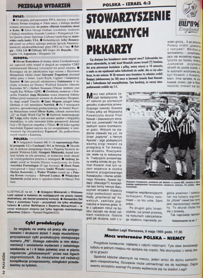 Piłka nożna po meczu Polska - Izrael (25.04.1995)