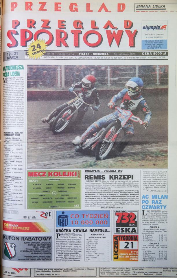 Okładka przeglądu sportowego po meczu brazylia - polska (17.03.1993)
