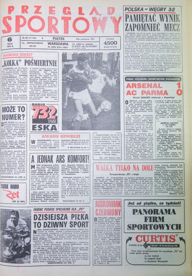 Okładka przeglądu sportowego po meczu Polska - Węgry (04.05.1994)
