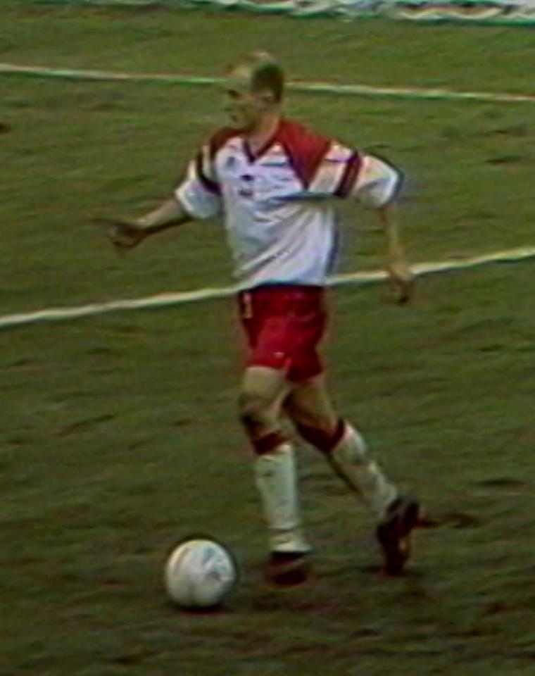 Jacek Bednarz podczas meczu Polska - Litwa 1:1 (31.03.1993).