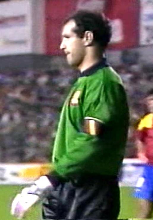 Andoni Zubizarreta podczas meczu Hiszpania - Polska 1:1 (09.02.1994).