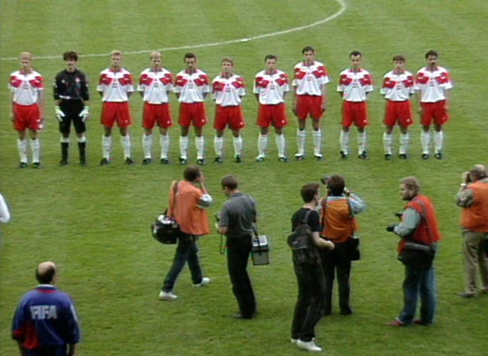 Reprezentacja Polski przed meczem z Austrią w Katowicach.