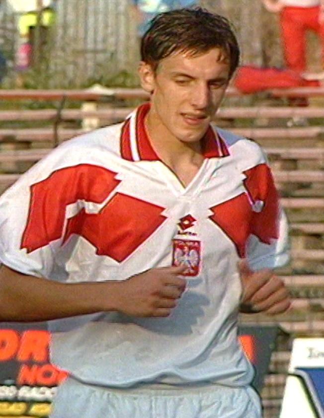 Jacek Bąk podczas meczu Polska - Białoruś 1:1 (17.08.1994).