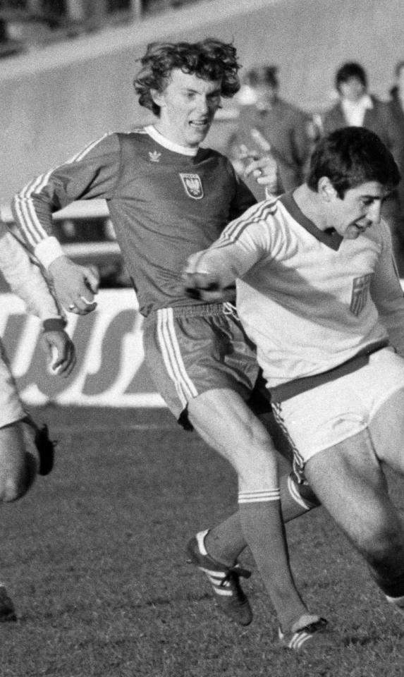 Zbigniew Boniek podczas meczu Polska - Grecja 5:2 (05.04.1978).