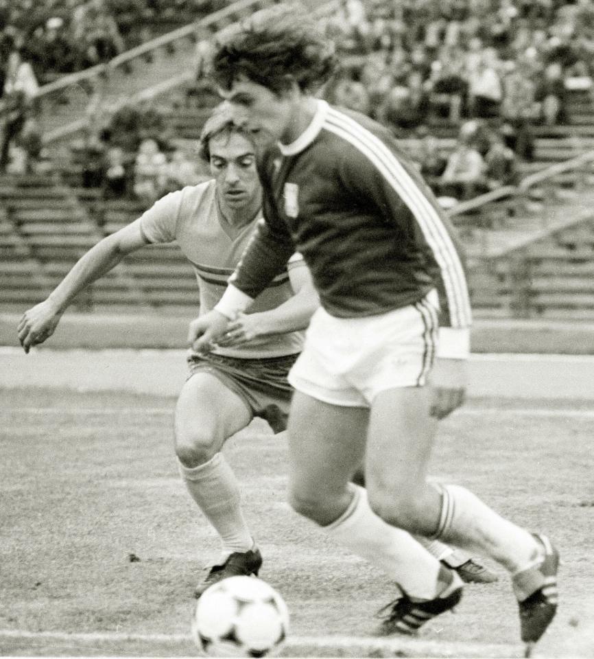 Marek Dziuba podczas meczu Polska - Rumunia 3:0 (29.08.1979).
