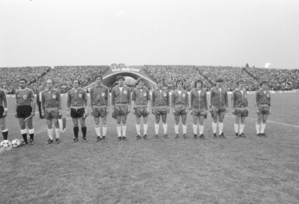 Reprezentacja Polski przed meczem ze Szkocją 28 maja 1980.