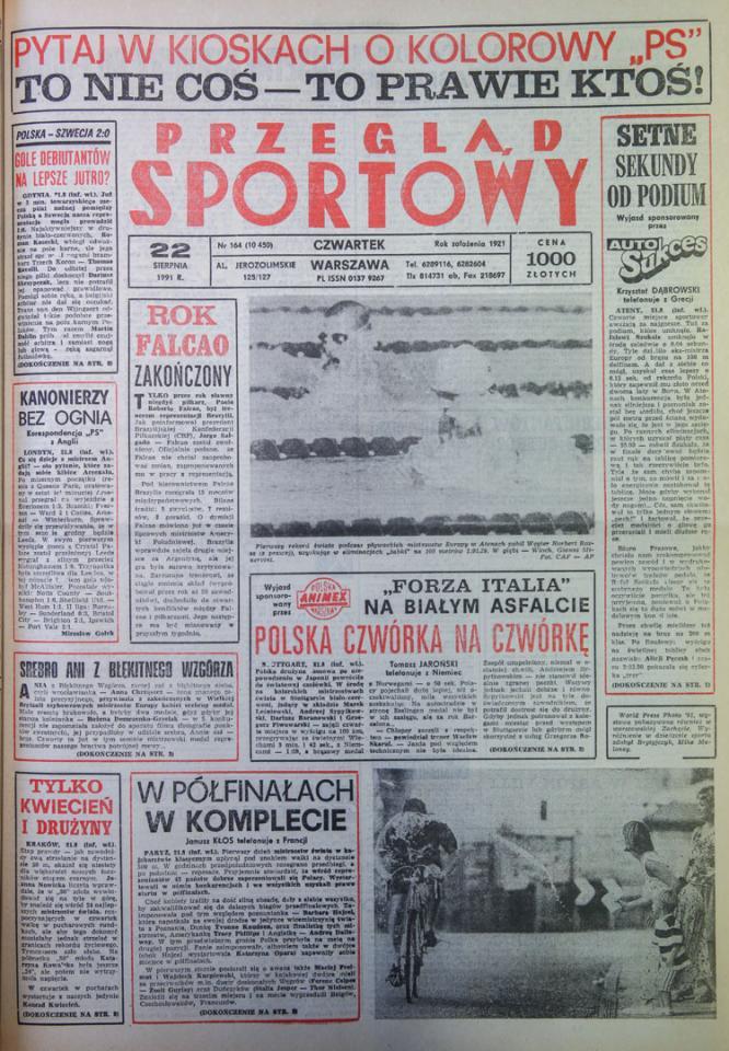 Przegląd sportowy po meczu Polska - Szwecja (21.08.1991)