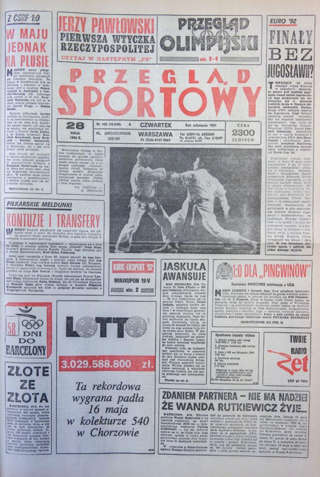 Przegląd Sportowy o meczu Polska - CSRS (27.05.1992)