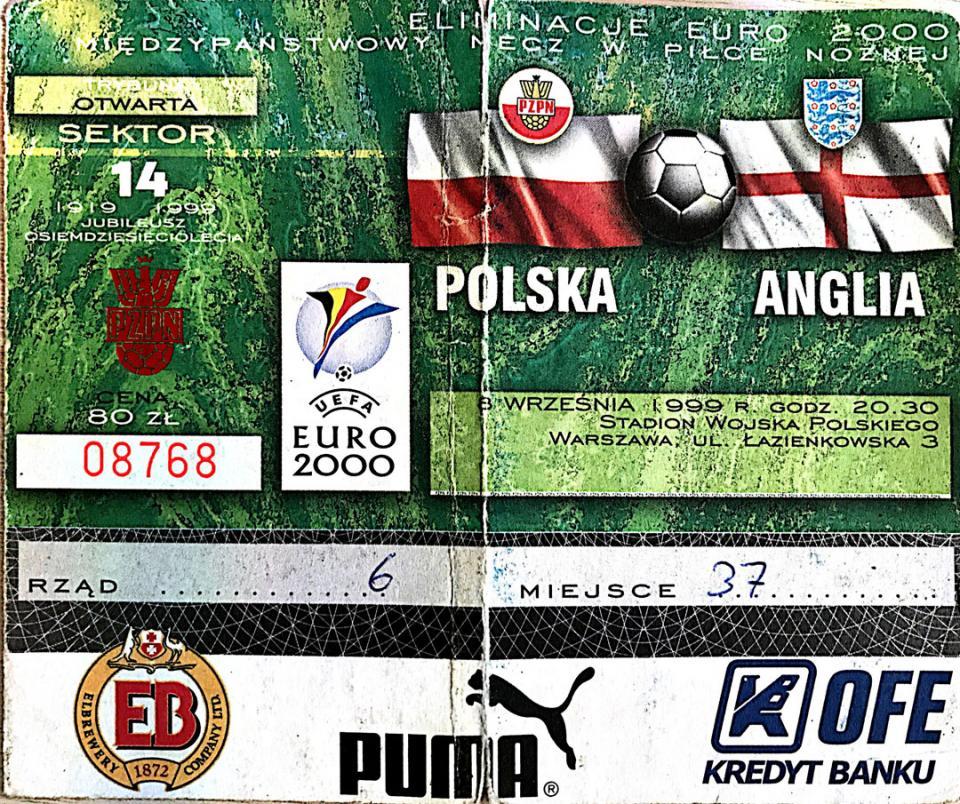 Bilet z meczu Polska - Anglia (08.09.1999)