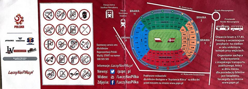 Bilet z meczu Polska - Dania (08.10.2016)