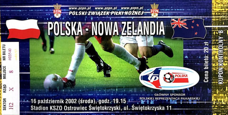 Bilet z meczu Polska - Nowa Zelandia (16.10.2002)