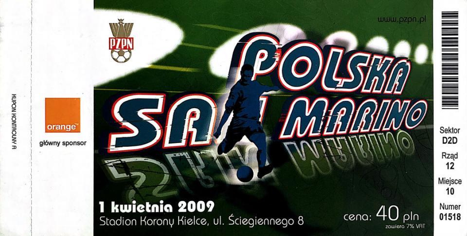 Bilet z meczu Polska - San Marino (01.04.2009)