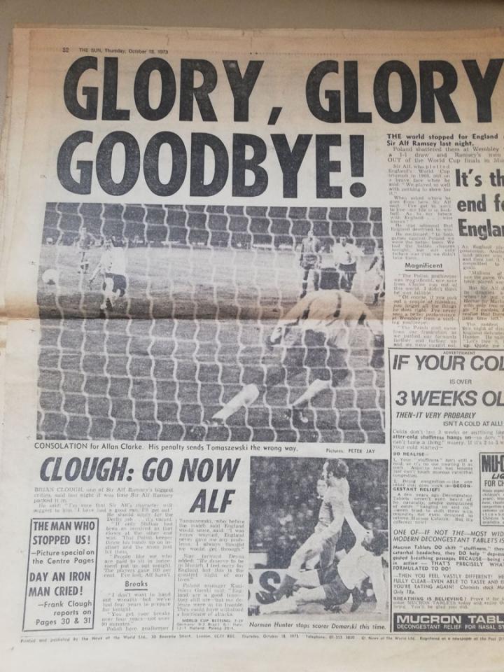 The sun o meczu Anglia - Polska (17.10.1973)