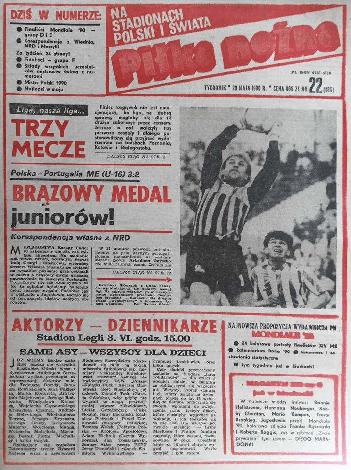 Piłka nożna po meczu Portugalia - Polska ME U-16 (27.05.1990)