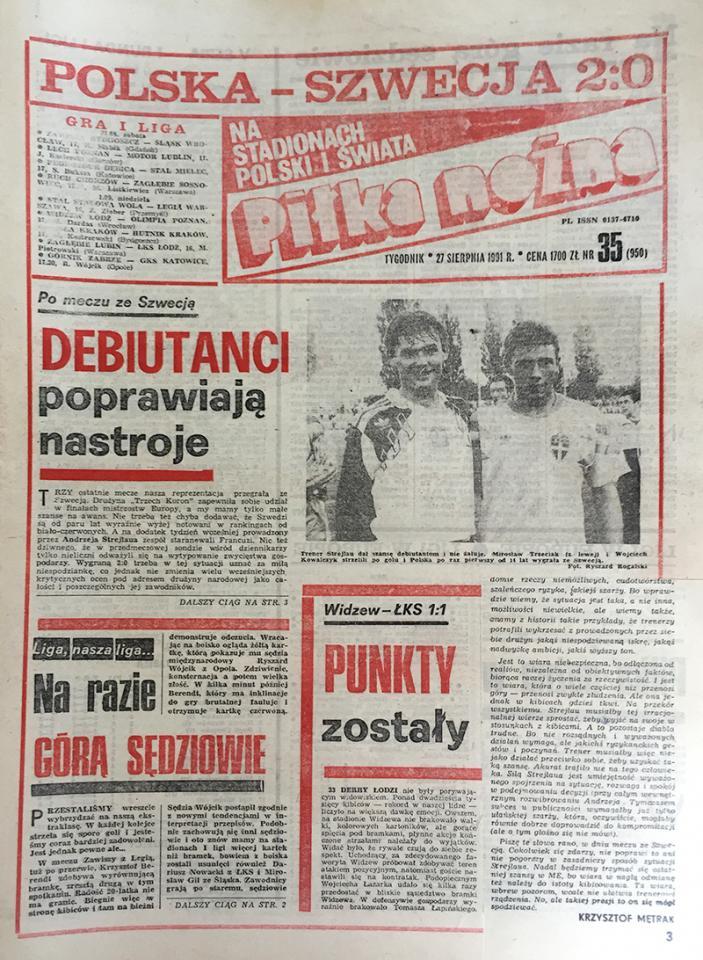 Okładka Piłki Nożnej po meczu Polska - Szwecja 2:0 (21.08.1991)