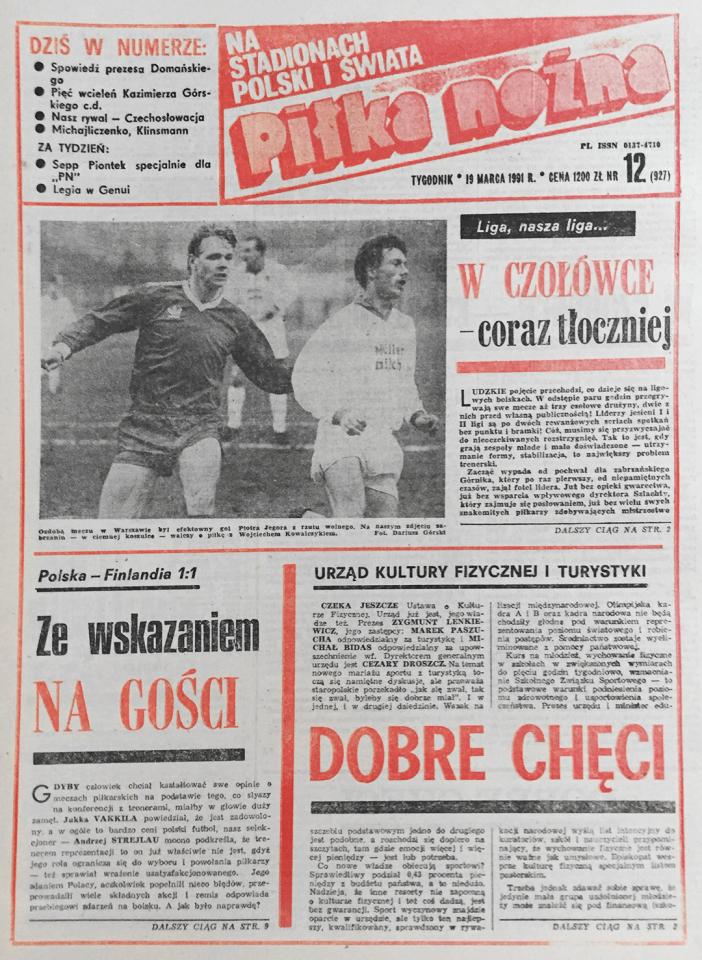 """""""Piłka Nożna"""" okładka - Polska - Finlandia 1:1 (13.03.1991)"""
