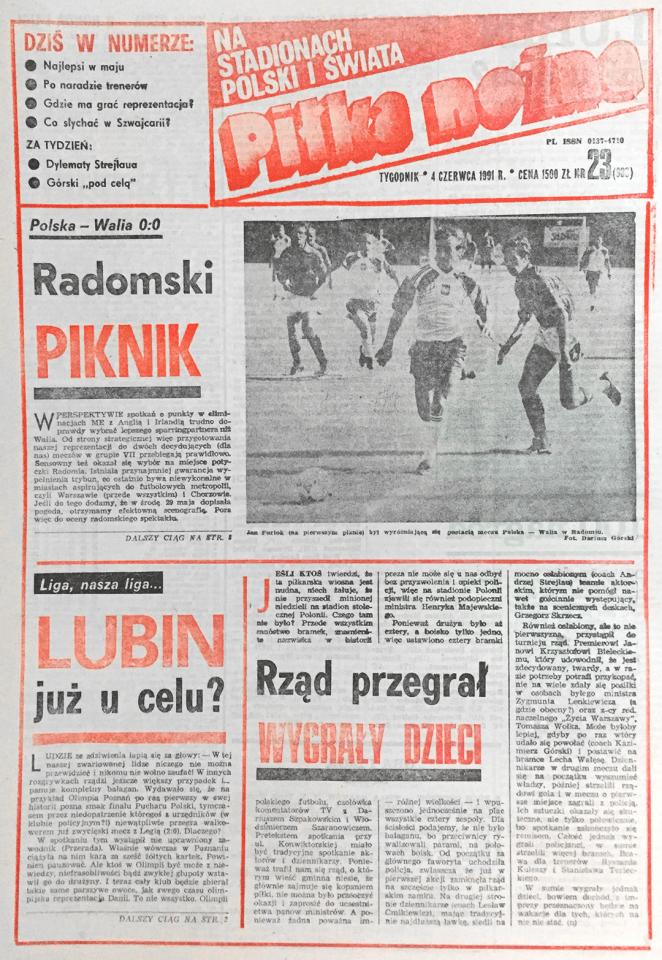Piłka nożna po meczu Polska - Walia 0:0 (29.05.1991)