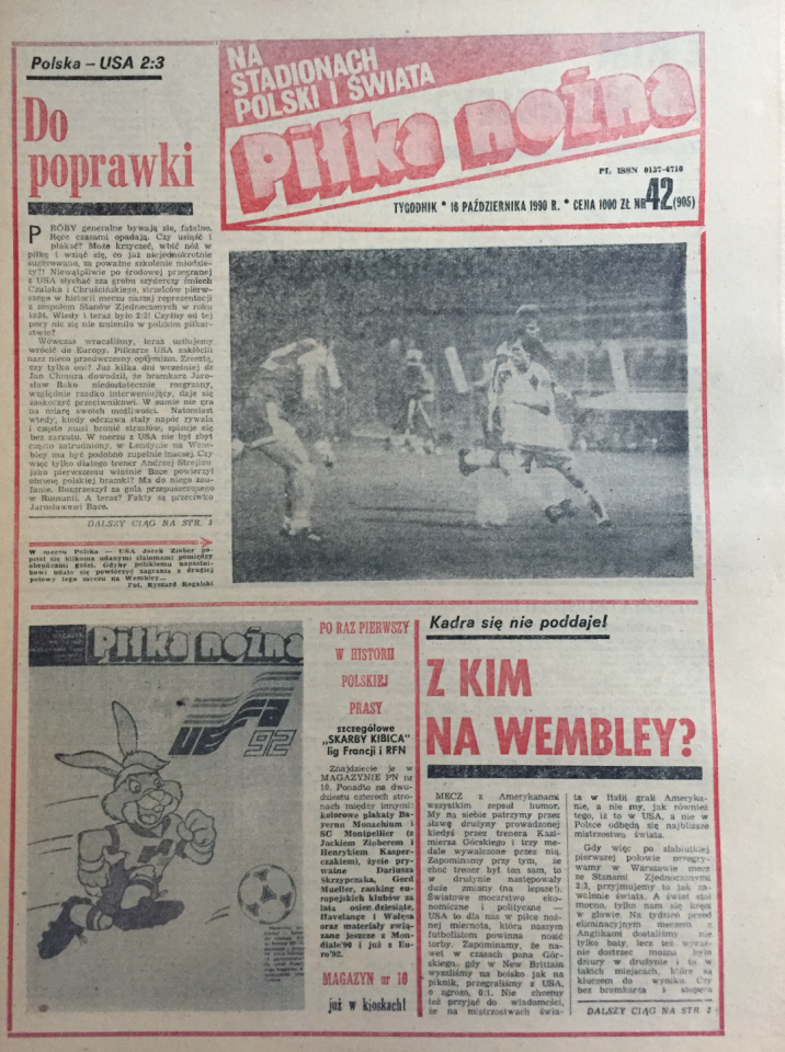 Okładka piłki nożnej po meczu polska - usa 2:3 (10.10.1990)