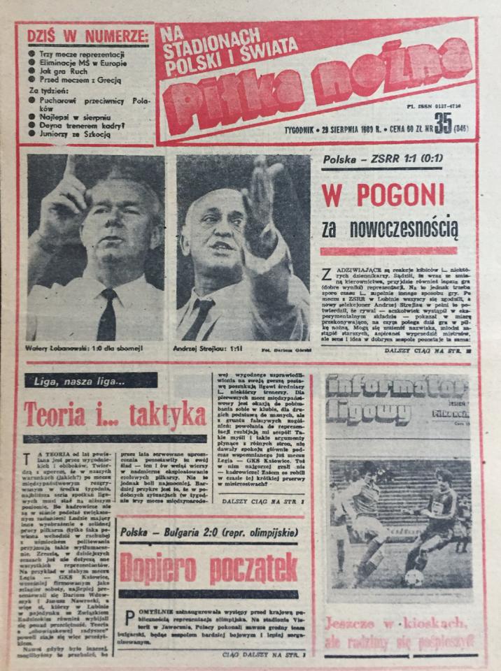 Okładka Piłki Nożnej po meczu Polska - ZSRR 1:1 (23.08.1989)