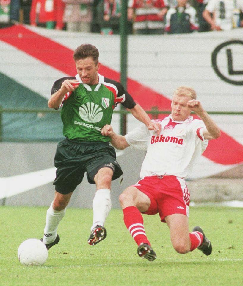 Tomasz Sokołowski i Tomasz Łapiński podczas meczu Legia - Widzew 2:3 (18.06.1997)