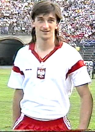 Marek Godlewski w debiucie w reprezentacji Polski.