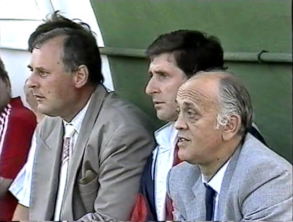 Sztab trenerski reprezentacji Polski (od lewej): Jan Tomaszewski, Lesław Ćmikiewicz i Andrzej Strejlau.