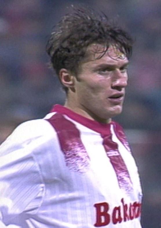 Jacek Dembiński podczas meczu Widzew Łódź - Borussia Dortmund 2:2 (20.11.1996)