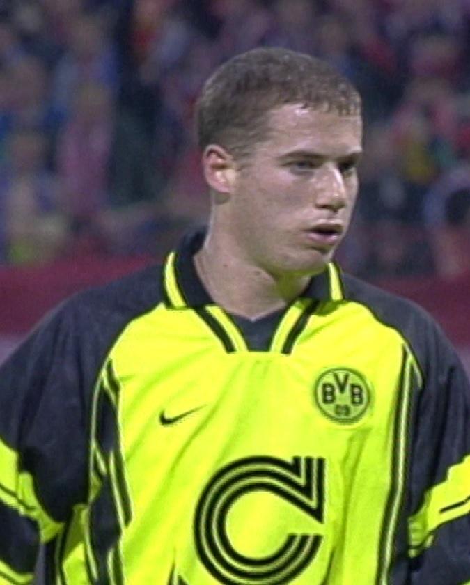 Lars Ricken podczas meczu Widzew Łódź - Borussia Dortmund 2:2 (20.11.1996)