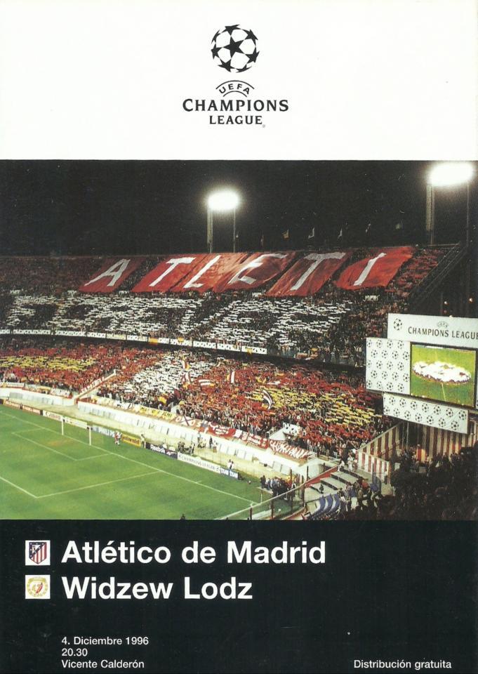Atlético Madryt - Widzew Łódź 1:0 (04.12.1996) Program meczowy