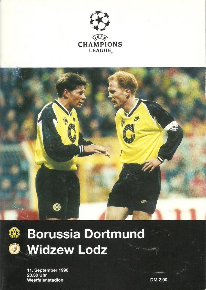 Program meczowy z meczu Borussia Dortmund - Widzew Łódź 2:1 (11.09.1996).