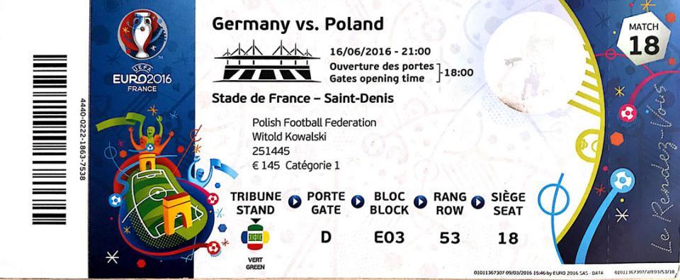 Bilet z meczu Niemcy - Polska (16.06.2016)
