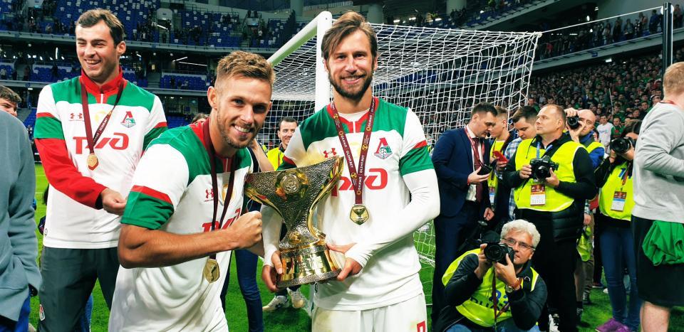 Maciej Rybus i Grzegorz Krychowiak w barwach Lokomotiwu Moskwa.