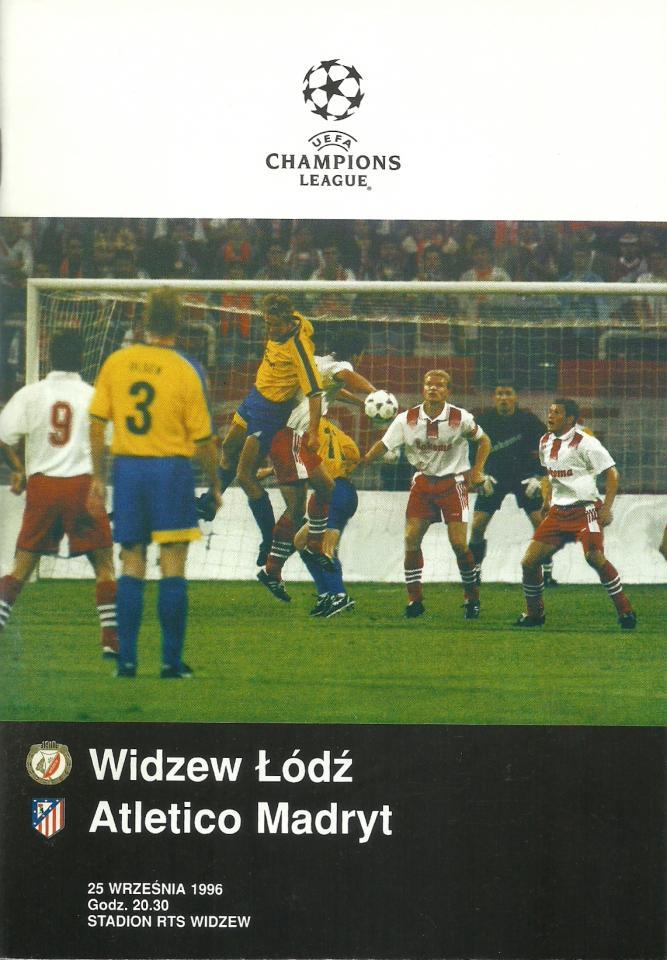 Widzew Łódź - Atlético Madryt 1:4 (25.09.1996) Program meczowy