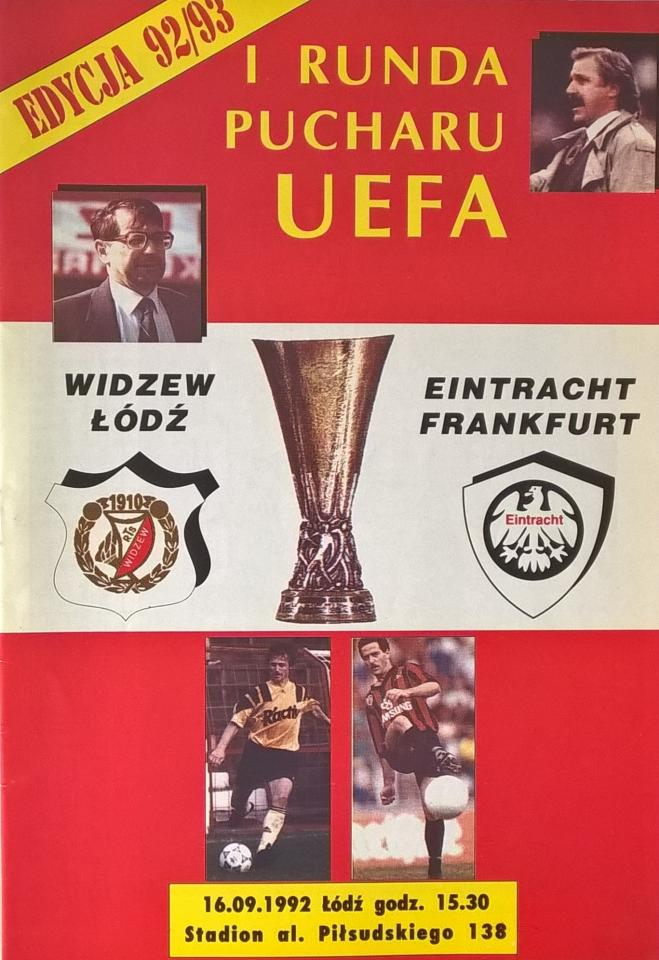 Widzew Łódź - Eintracht Frankfurt 2:2 (16.09.1992) Program meczowy