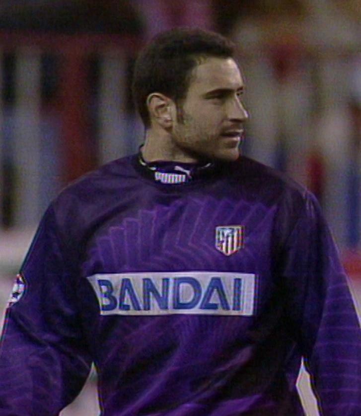 Jose Molina podczas meczu Atlético Madryt - Widzew Łódź 1:0 (04.12.1996)