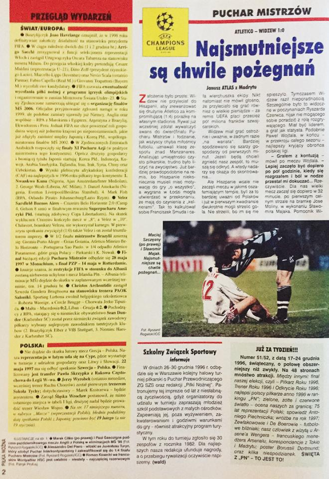 """Atlético Madryt - Widzew Łódź 1:0 (04.12.1996) Tygodnik """"Piłka Nożna"""""""